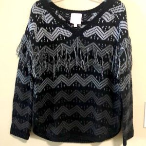Romeo & Juliet Sweater Fringed Black SZ M …